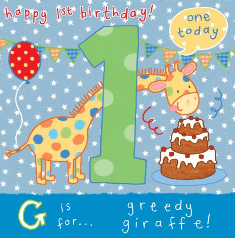 AGE 1 Giraffe Birthday Card TW057
